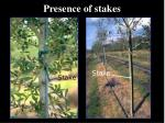 presence of stakes