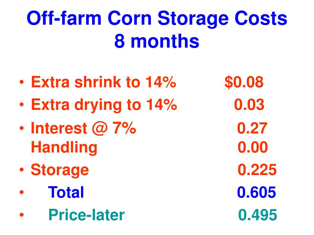 Off-farm Corn Storage Costs