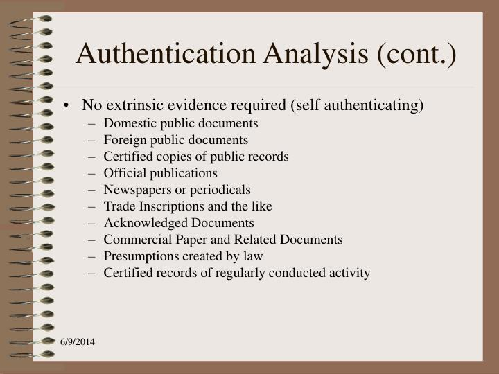 Authentication Analysis (cont.)