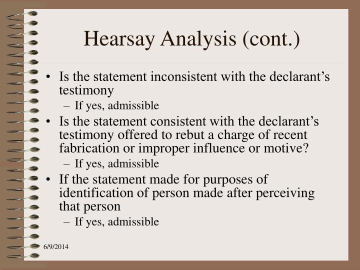 Hearsay Analysis (cont.)