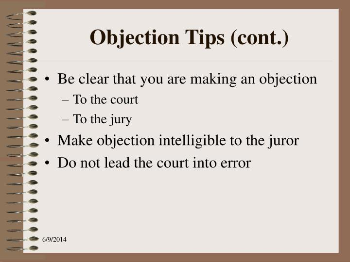 Objection Tips (cont.)