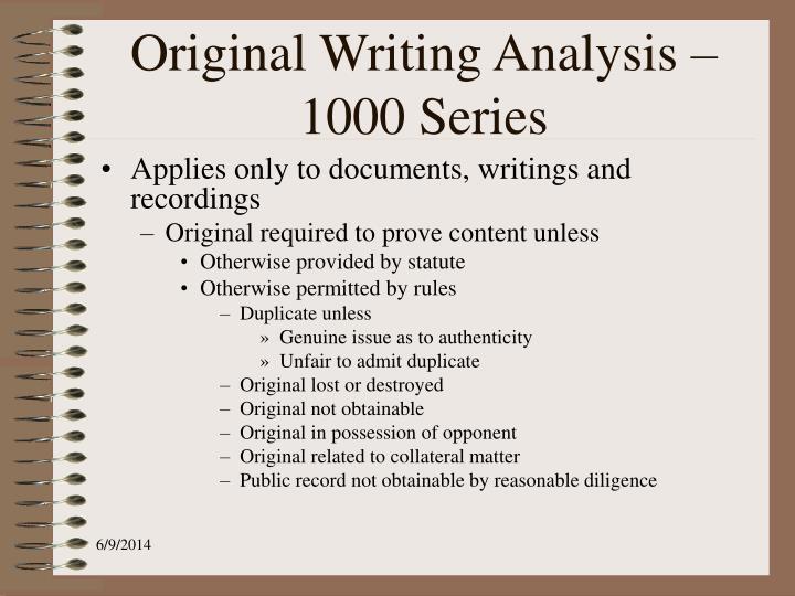 Original Writing Analysis – 1000 Series