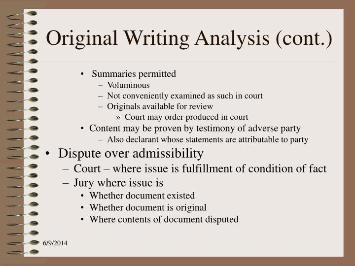 Original Writing Analysis (cont.)