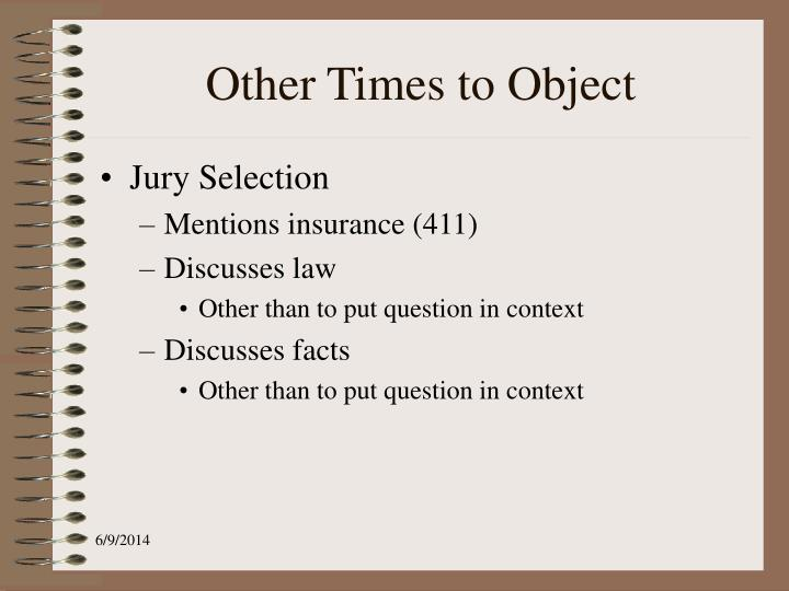 Other Times to Object