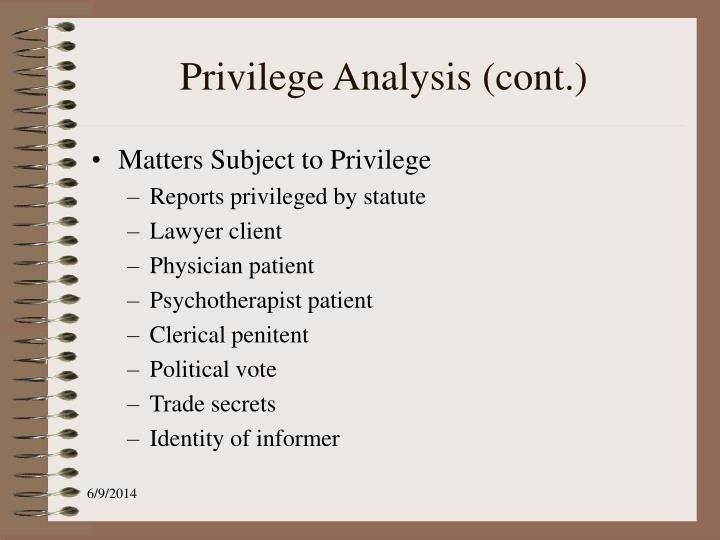 Privilege Analysis (cont.)