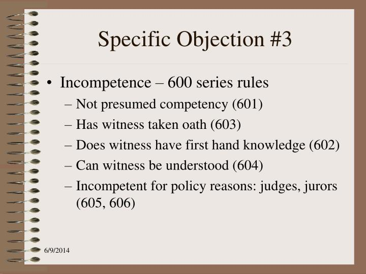 Specific Objection #3