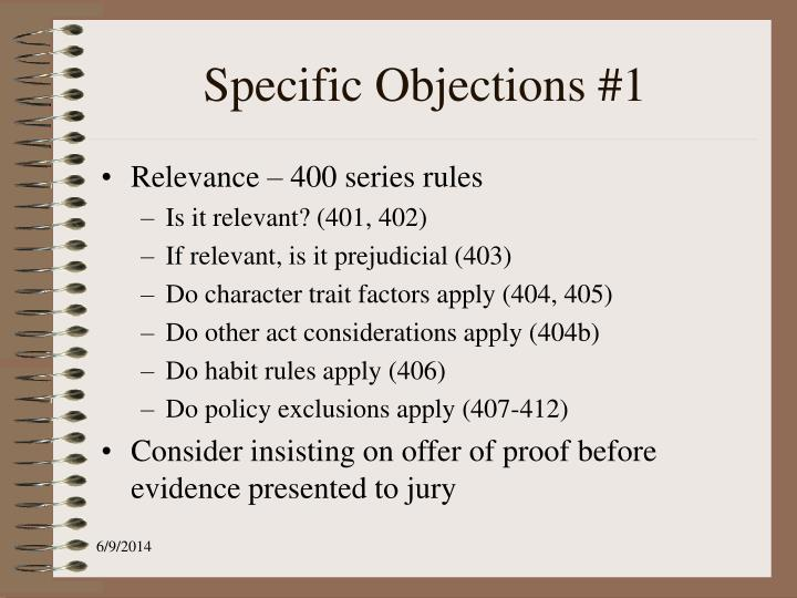 Specific Objections #1