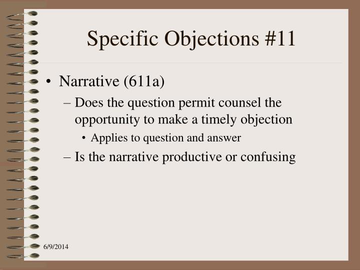 Specific Objections #11