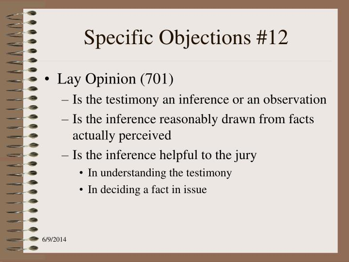 Specific Objections #12
