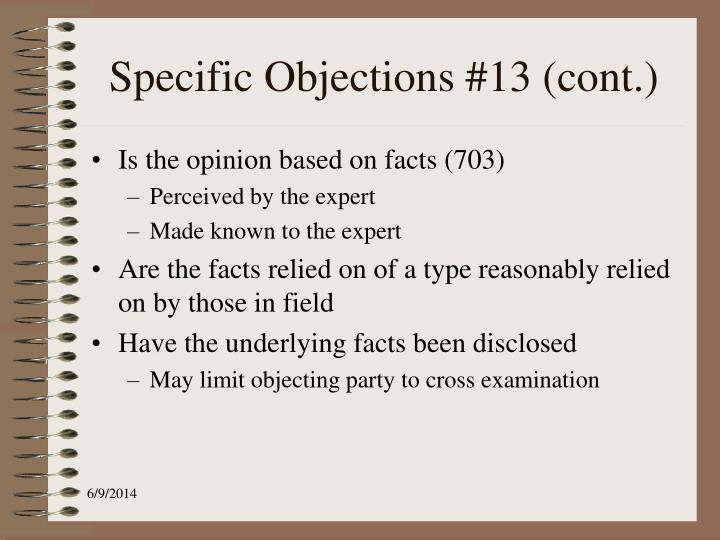 Specific Objections #13 (cont.)