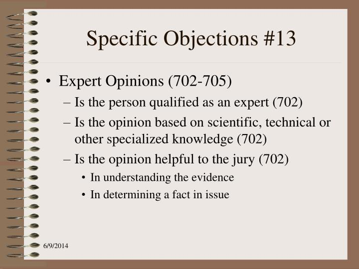 Specific Objections #13