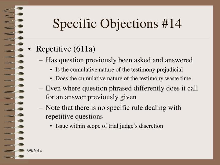 Specific Objections #14