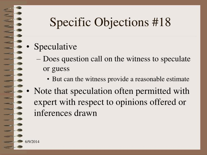 Specific Objections #18