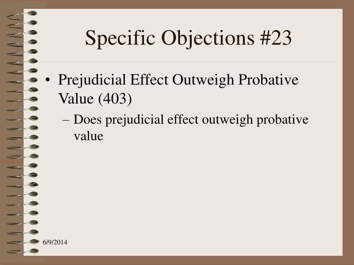Specific Objections #23