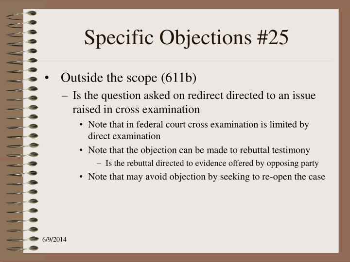 Specific Objections #25