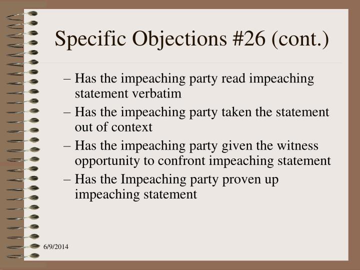 Specific Objections #26 (cont.)