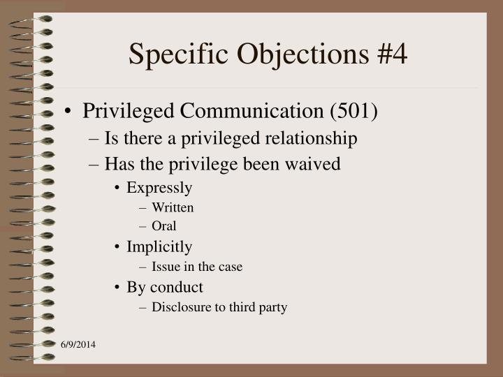 Specific Objections #4