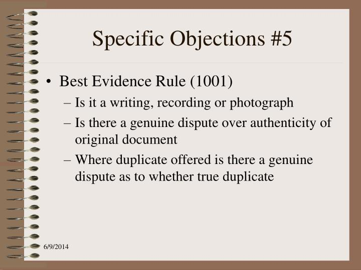 Specific Objections #5
