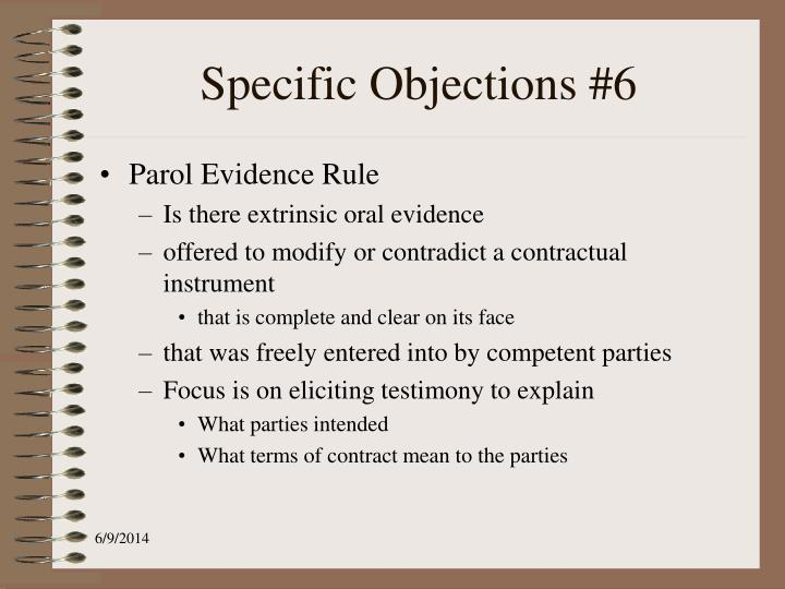 Specific Objections #6