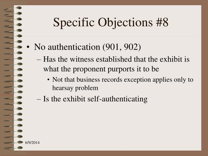 Specific Objections #8