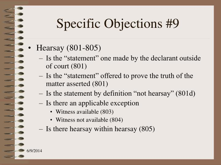 Specific Objections #9