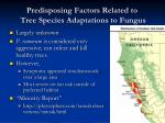 predisposing factors related to tree species adaptations to fungus