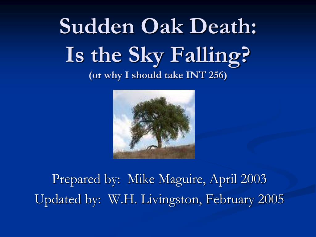 sudden oak death is the sky falling or why i should take int 256 l.