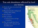 tan oak abundance affected by land use history