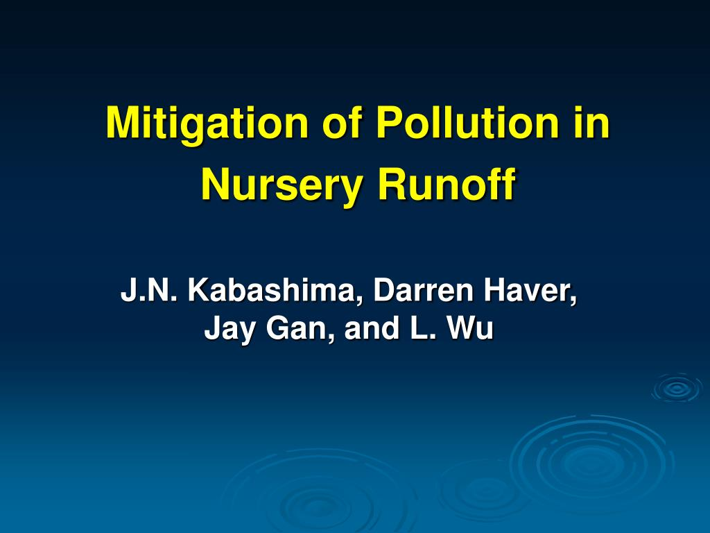 mitigation of pollution in nursery runoff l.