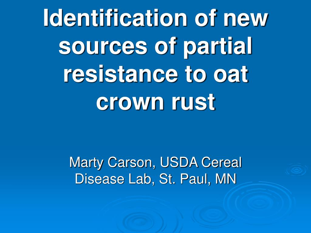 identification of new sources of partial resistance to oat crown rust l.