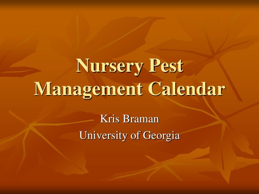 nursery pest management calendar l.