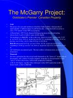 the mcgarry project goldstake s premier canadian property
