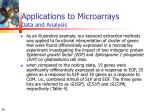 applications to microarrays data and analysis