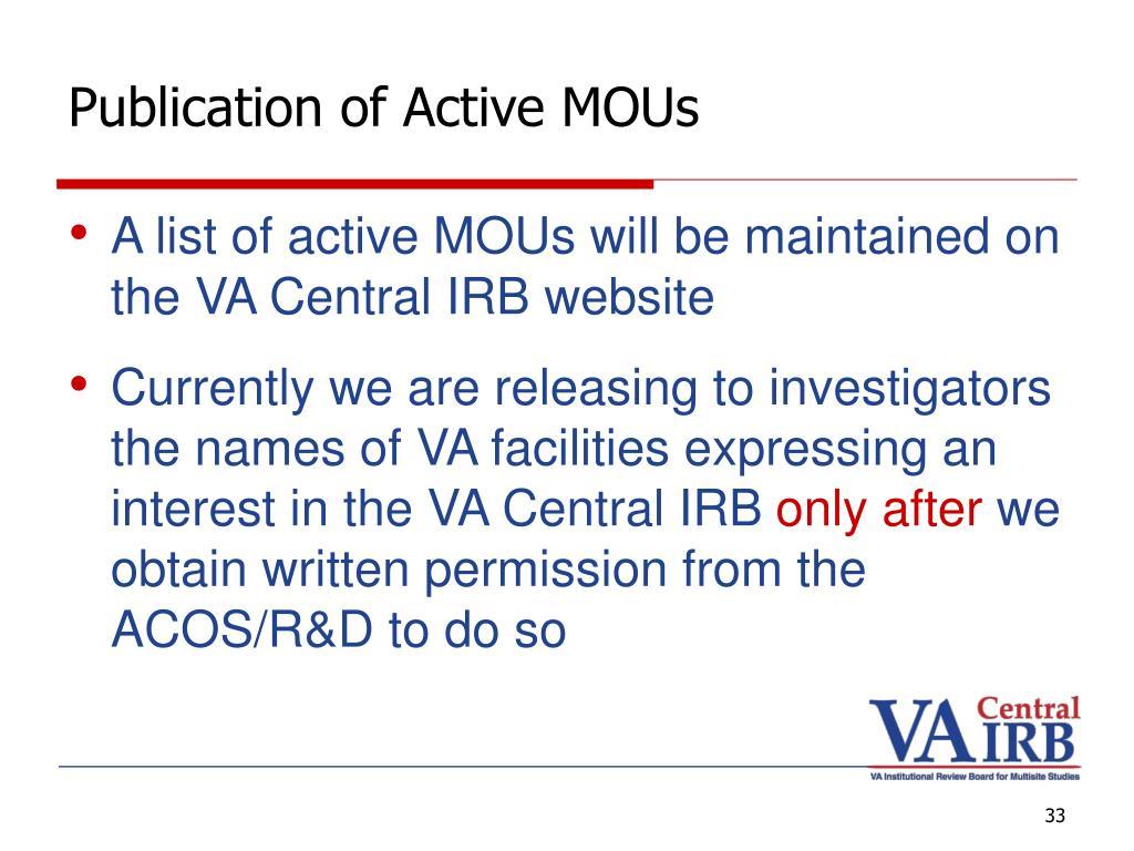 Publication of Active MOUs