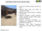 criteria for pilot selection