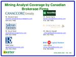 mining analyst coverage by canadian brokerage firms