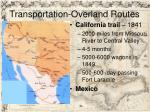 transportation overland routes