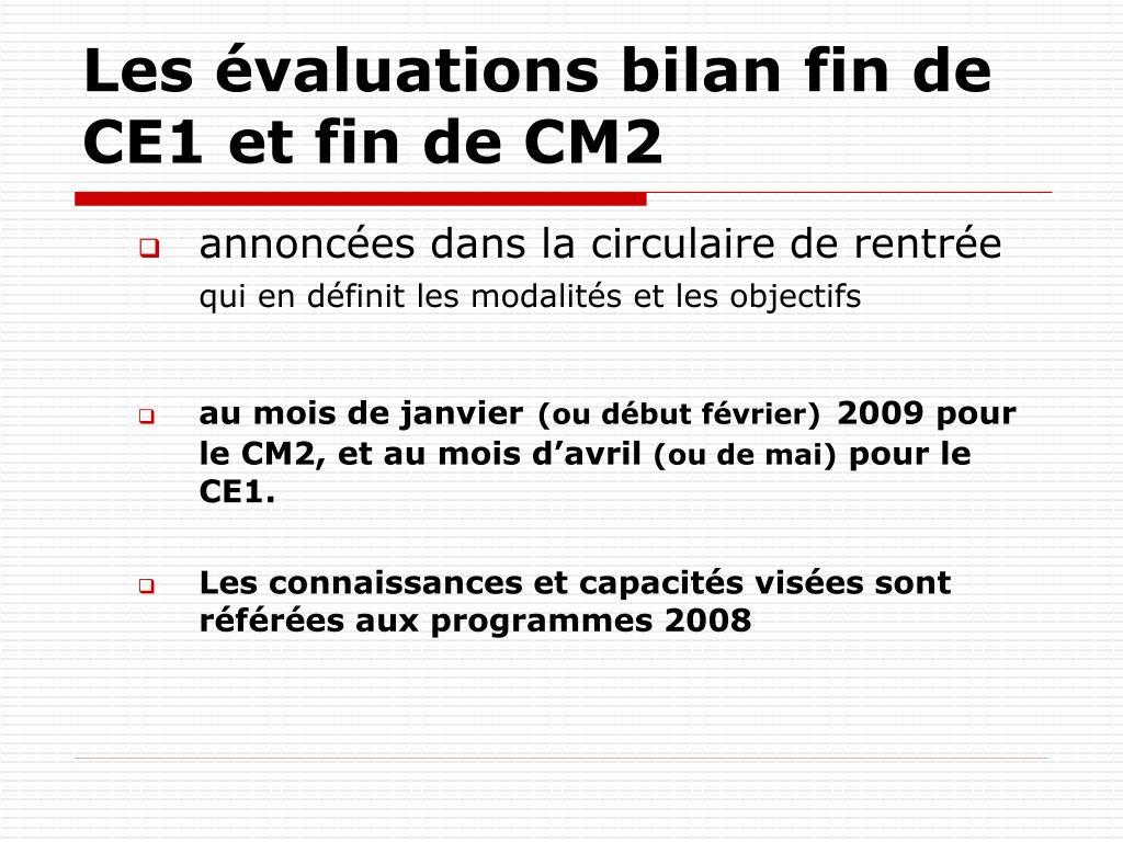 Les évaluations bilan fin de CE1 et fin de CM2