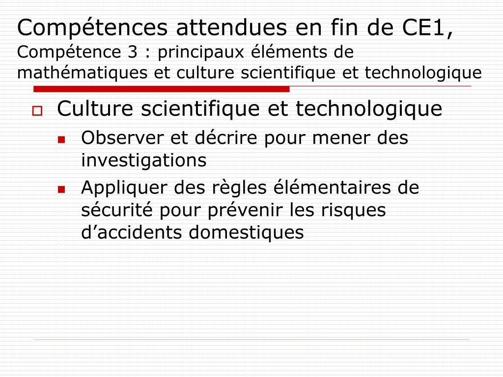 Compétences attendues en fin de CE1,