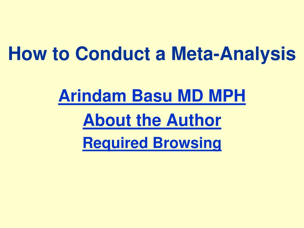 how to conduct a meta analysis