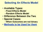 selecting an effects model
