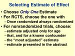 selecting estimate of effect