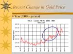 recent change in gold price
