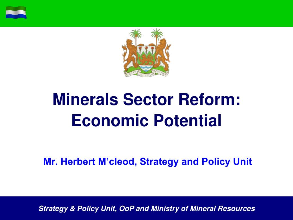 minerals sector reform economic potential l.