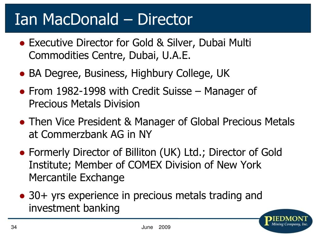 Executive Director for Gold & Silver, Dubai Multi Commodities Centre, Dubai, U.A.E.