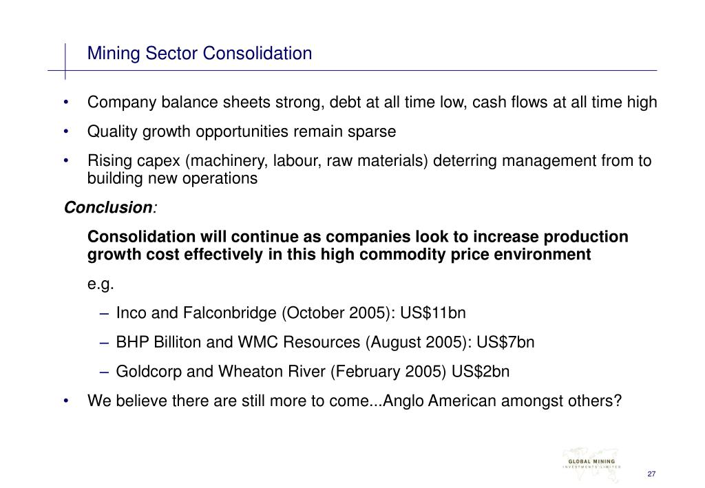 Mining Sector Consolidation