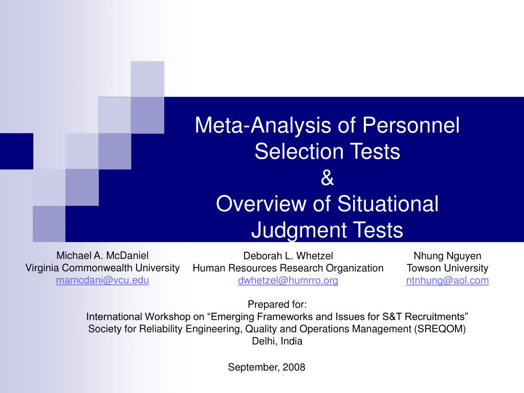 meta analysis of personnel selection tests overview of situational judgment tests l.