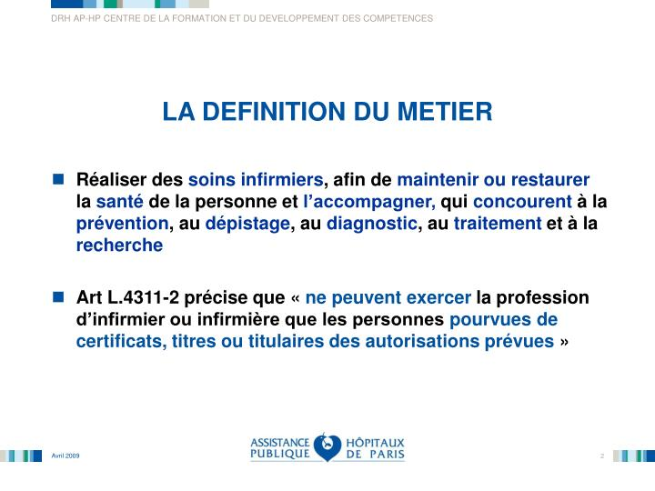 Ppt le metier d infirmier e powerpoint presentation for Architecte definition du metier