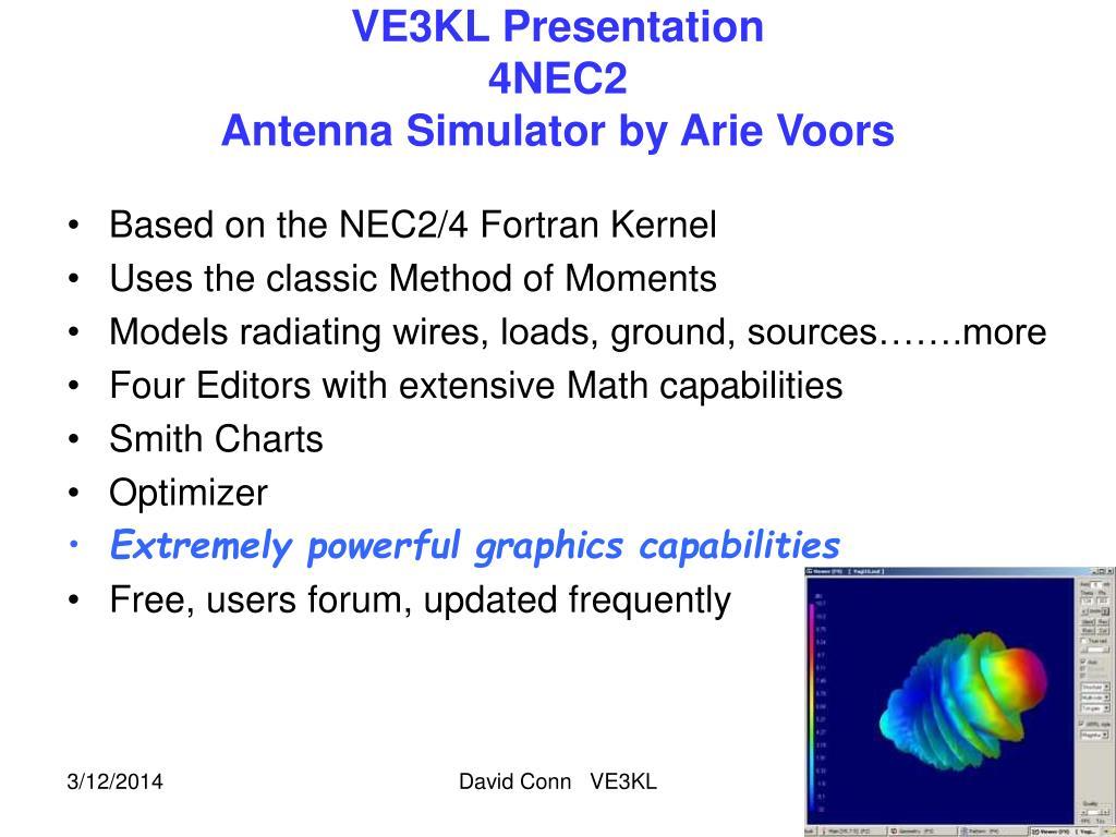 PPT - VE3KL Presentation 4NEC2 Antenna Simulator by Arie Voors