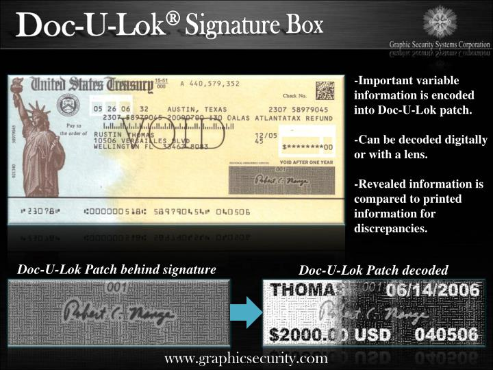 -Important variable information is encoded into Doc-U-Lok patch.